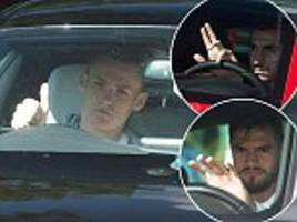 manchester united stars arrive for training in luxury cars