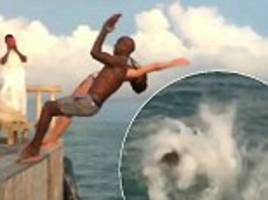 sir mo farah has a go at synchronised diving in maldives