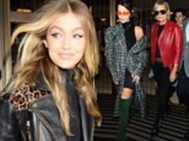 gigi and bella hadid cut chic figures for final day of lfw