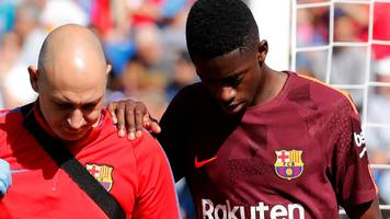 barca lose £135m dembele to injury for three and half months