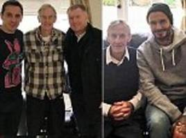 Beckham, Scholes and Neville pay ex-United coach a visit