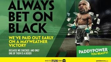 floyd mayweather 'always bet on black' advert banned on race grounds