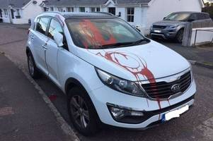 police appeal after car is vandalised by red paint in north devon