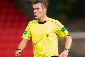 Referee Euan Anderson tells Ayr United boss Ian McCall he's sorry for penalty error