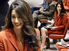 amal clooney attends un security council meeting