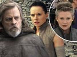 carrie fisher seen in 20 images from star wars last jedi