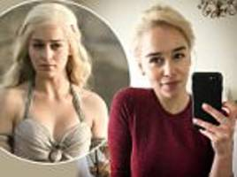 game of thrones' emilia clarke relishes newly-dyed hair