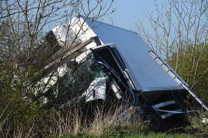 Air ambulance called after lorry careers off A158 into ditch