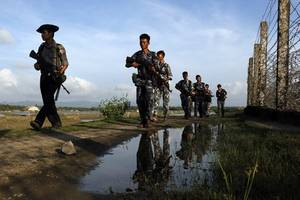Myanmar police fire warning shots in Rakhine as mob attacks aid boat