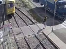 woman loses leg when tram ploughs into her