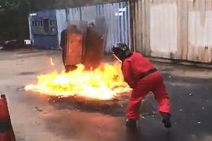 Watch the moment a petrol bomb is thrown at Humberside Police officers during training exercise
