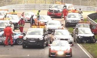 nurburgring oil spill causes crash chaos, racing turns demolition derby