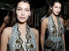 Bella Hadid goes braless at Salvatore Ferraga show