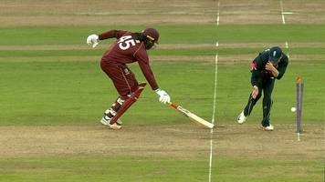 england v west indies: chris gayle run out for 94