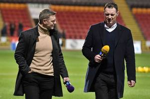 watch as celtic legend chris sutton is wiped out by former motherwell defender stephen craigan