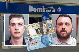 knife raiders jailed for seven years for hapless £15 heist at domino's store