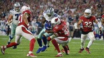 NFL: Dallas Cowboys' Dez Bryant carries five defenders over for touchdown