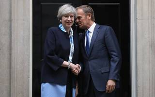 may meets tusk as prime minister continues eu charm offensive