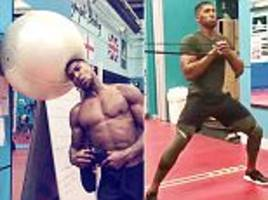 anthony joshua toils in gym ahead of kubrat pulev clash