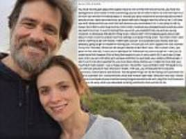 jim carrey's ex's note years before her suicide