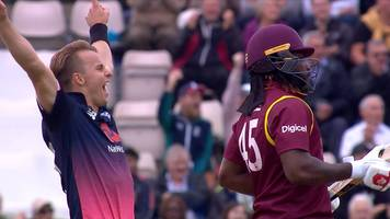 england v west indies: 'brilliant' diving catch removes gayle