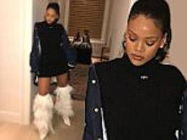 rihanna shows off her white furry ysl boots on instagram