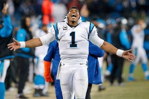 cam newton laughs at female reporter, says 'it's funny to hear' a woman talk about routes