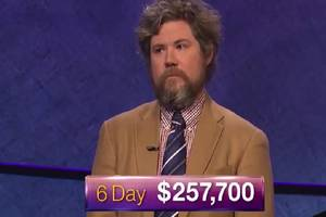 'jeopardy!' contestant and bearded bartender austin rogers crosses $250,000 total with massive final bid (video)