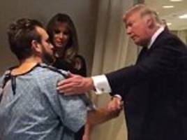 Las Vegas victim gets up out of bed to shake Trump's hand