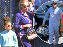 beyonce and jay z step out with blue ivy, rumi and sir