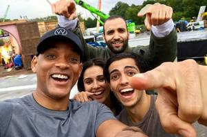will smith pops out for a curry in bagshot between filming disney's new aladdin movie at longcross