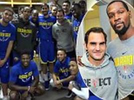 roger federer pays a visit to the golden state warriors