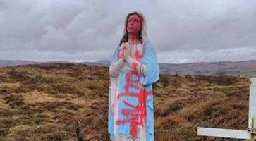 tyrone statue of virgin mary desecrated with offensive word