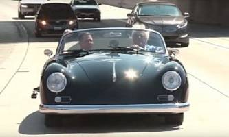 restomod hell: leno drives porsche 356-bodied cayman from west coast customs