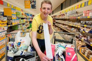 yaldy for aldi! how much did ben cram into trolley on charity trolley dash?