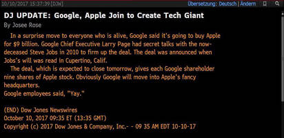 Technical Error Blamed For Dow Jones Fake News That Google Is Buying Apple