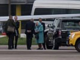 the queen and her three corgis board a plane in aberdeen