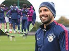 Man City striker Sergio Aguero trains following car crash