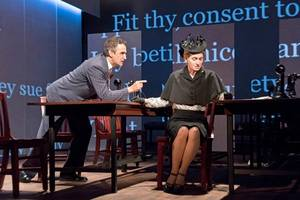 'measure for measure' theater review: shakespeare with teleprompters