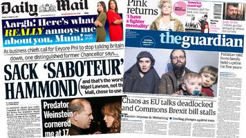 Newspaper headlines: Brexit 'deadlock', and Weinstein claims