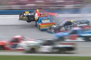 Cody Coughlin nearly flips into the catchfence at Talladega | 2017 TRUCK SERIES | FOX NASCAR
