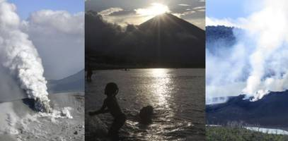 wave of eruptions along pacific 'ring of fire' leave 10,000s displaced