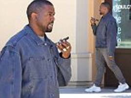 kanye west attends a soulcycle class in denim on denim