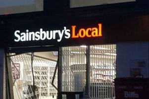 Ramraiders smash through front of Sainsbury's supermarket - and drive off with booze