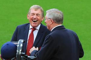 Kenny Dalglish and Sir Alex Ferguson share a joke as Liverpool name stand in honour of Anfield legend