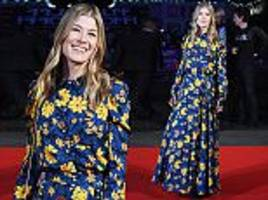 rosamund pike stuns in floral frock at bfi film premiere
