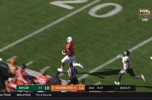 Justice Hill is off to the races, goes 79 yards for touchdown