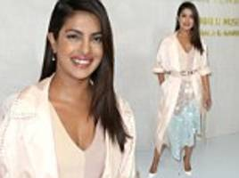 priyanka chopra glows in pale colors at hammer gala in la