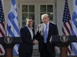 greece's pm confronted by claim trump's beliefs are 'evil'