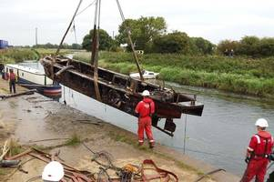 abandoned wrecks dredged out of river hull before blood-sucking game of thrones fish arrive